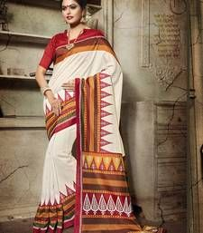 Buy Off white printed bhagalpuri silk saree With Blouse bengali-saree online