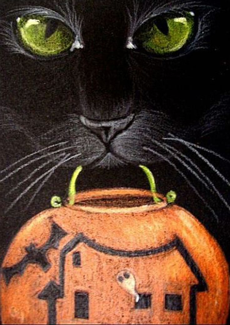"""Trick or Treat"" par Cyra R. Cancel Cat drawing, Cats"