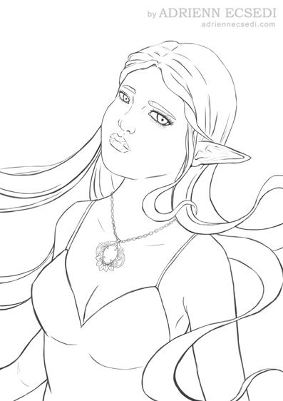 The #lineart is finished. Next step is the coloring. I already have an idea of what colors I will use, so I am quite excited how it will turn out. #elvenGirl #fantasyArt