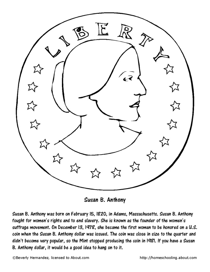 Susan B. Anthony coloring page