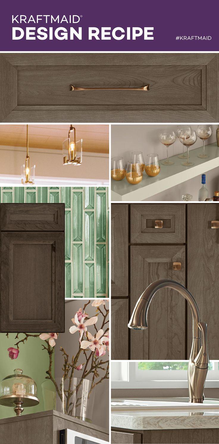 Rich grey brown cabinets Soft green backsplash tiles