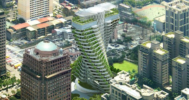 edificio doble helice con forma de adn en taipei