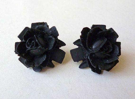 Rose Noir // Medium Sized Black Rose Stud Earrings by LaPlumeNoir
