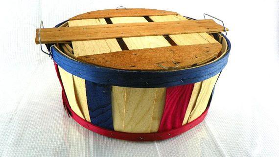 Vintage Half Bushel Basket with Lid Split Wood Gathering