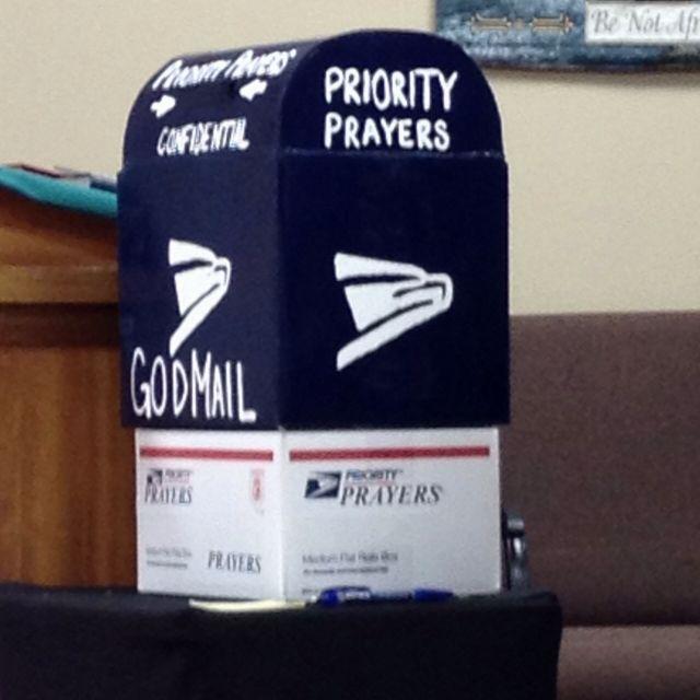 "Prayer box at church...""Priority Mail"""