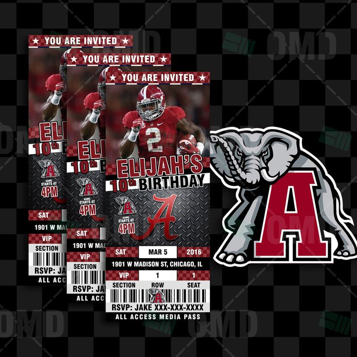 Roll Tide Alabama Crimson Tide Sports Party Invitation, 2.5x6 Sports Tickets Invites Football Birthday Theme Party Template by sportsinvites on Etsy