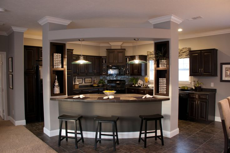 curved area above bar, built in on columns