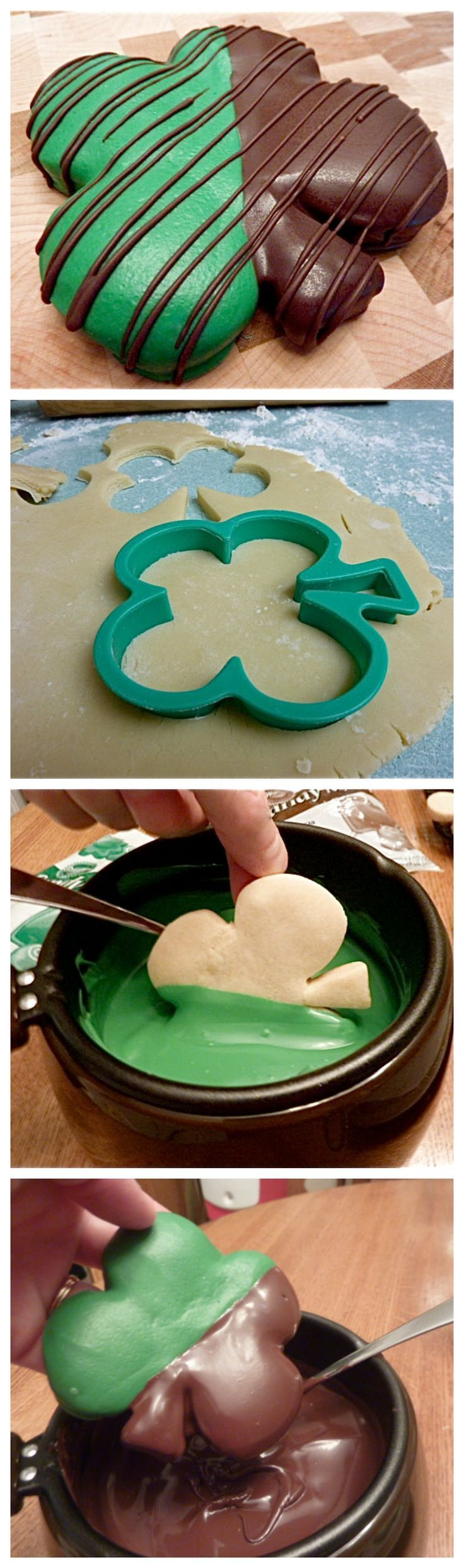 St. Patrick's Day Chocolate Covered Four-Leaf Clover cookies cookie recipes party ideas st patricks day shamrock st patricks day ideas st patrick's day st patricks day recipes