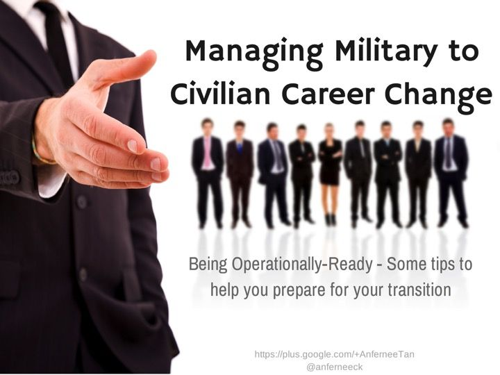 military management and the civilian sector Transitioning veterans if you've just returned from active military service and are seeking a career in the private or civilian sector, or are expecting to be discharged soon, it may be a daunting task to find a job as a civilian.