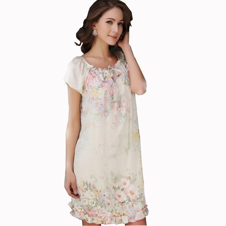 14 kleuren Vrouwen Nachtjapon 100% zijde Nachtkleding Zomer Korte mouwen Een stuk Jurk Lounge Sleepshirts Bloemen Patroon Lingerie