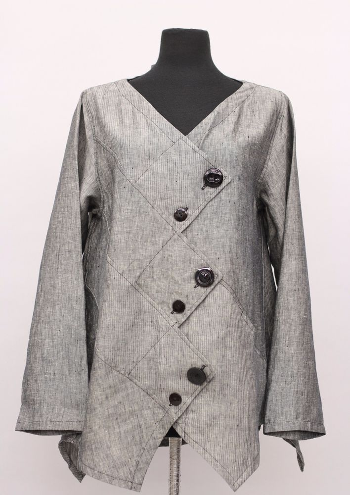 PRISA COLLECTION BERLIN DESIGNER LINEN ASYM BUTTON JACKET GRAY DENIM $289 #PRISA #Jacket