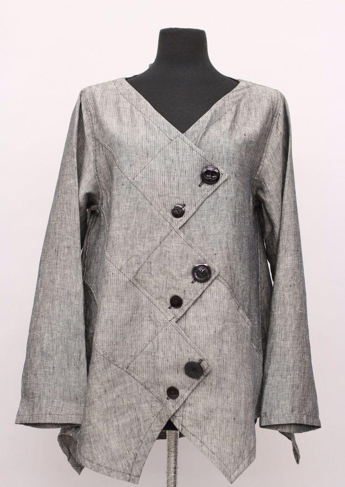 PRISA COLLECTION BERLIN DESIGNER LINEN ASYM BUTTON JACKET GRAY DENIM $289 #PRISA #Jacket
