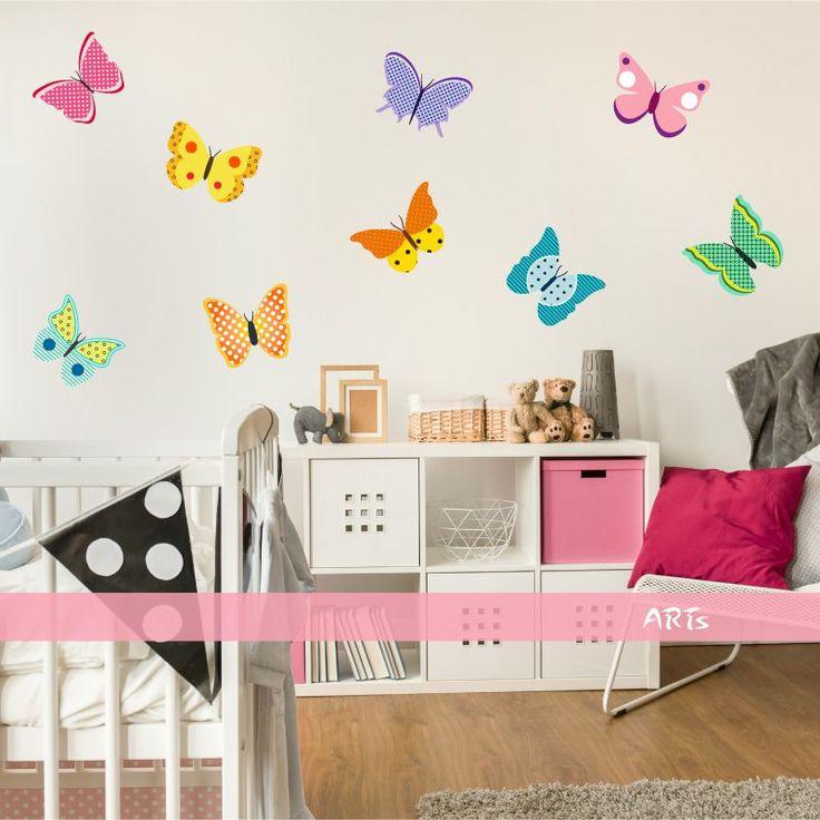 (3579f) Nálepka na stenu - Farebné motýliky | ARTSABLONY.SK