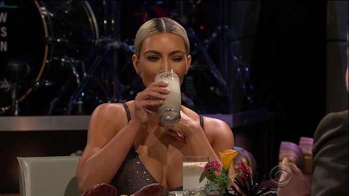 """Kim Kardashian having to drink a sardine smoothie on the """"Spill Your Guts or Fill Your Guts"""" segment of her guest appearance onThe Late Late Show with James Corden aired on November 15, 2017."""