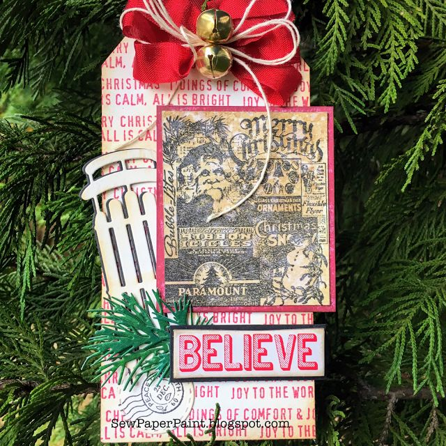 SewPaperPaint: Vintage Santa and Sleigh Tim Holtz Christmas Tags