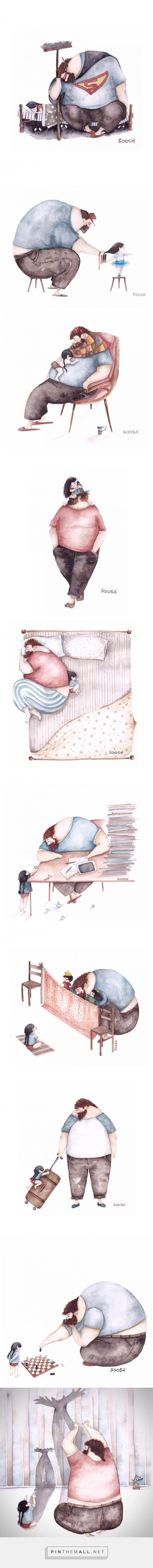 Heartwarming Illustrations About The Love Between Dads And Their Little Girls - Snezhana Soosh, a young painter, has drew beautiful watercolor paintings on her Instagram: https://www.instagram.com/vskafandre/