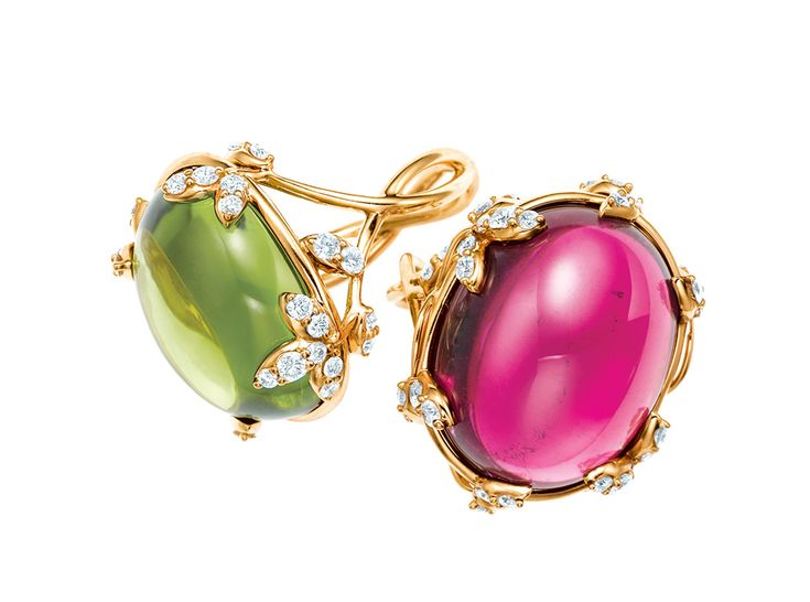 Paloma's Olive Leaf cabochon rings with diamonds, peridot (left) and rubellite (right), in 18ct gold by Paloma Picasso for Tiffany  Co