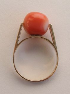 Modernist 18K Gold Coral Ring 1960s | From a unique collection of vintage dome rings at https://www.1stdibs.com/jewelry/rings/dome-rings/