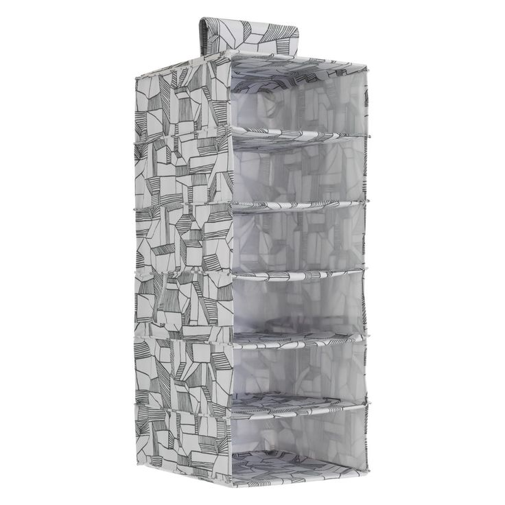 FIRTH Grey printed fabric 6 hanging clothes storage