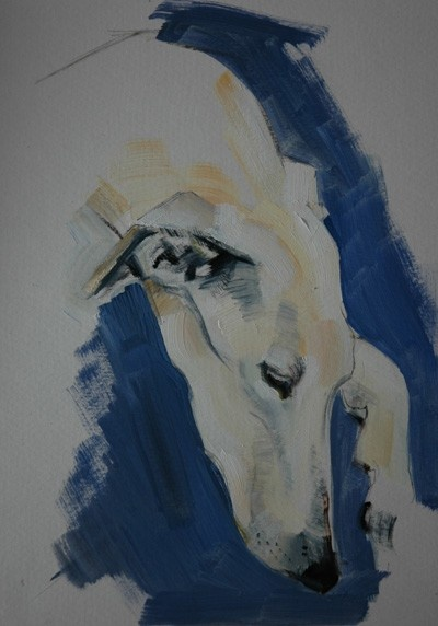 Dogs in Art at the StockBridge Gallery - Long Dog  Portrait Sample by Sally Muir, £550.00 (http://www.dogsinart.com/long-dog-portrait-sample-by-sally-muir/)