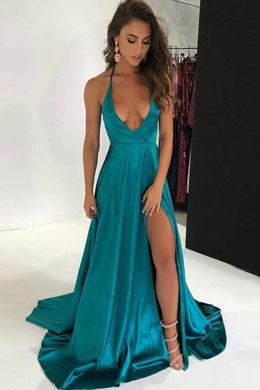 eacd6fc5cd1 Deep V-neck Spaghetti Straps Turquoise Long Side Slit Sexy Prom Dresses  OKG30 in 2019