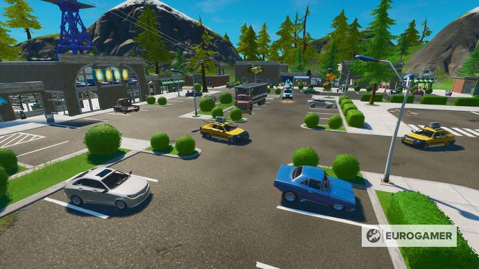 Fortnite Season 3 Retail Row Location Destroy 2 Cars In 60 Seconds Explained In 2020 The Row Car Ins Seasons
