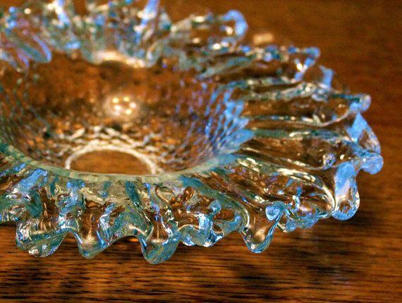 Signed Rare Vintage Glass Bowl Bowl/Centerpiece by Pertti Santalahti for Humppila