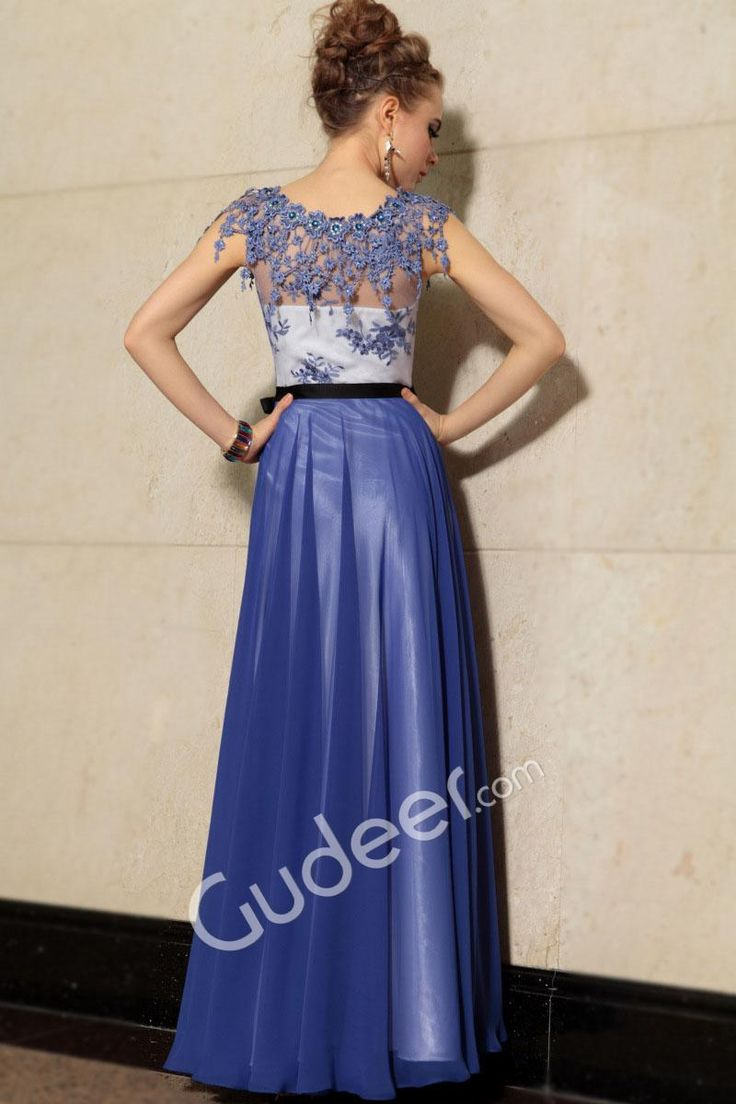 Flower Jewel Neck Floor Length A-Line Blue Illusion Evening Formal Dress