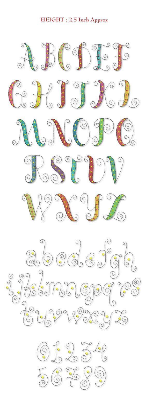 Lettertype met krulbegin en -eindjes.