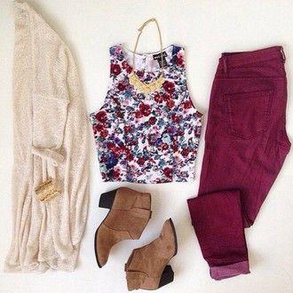 Crop top, magenta jeans