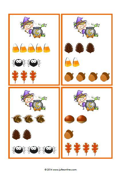 Telkaartjes met en zonder cijfers voor een leuk telspelletje bij het thema herfst en Halloween voor kleuters. Goede teloefening met meerdere niveaus.