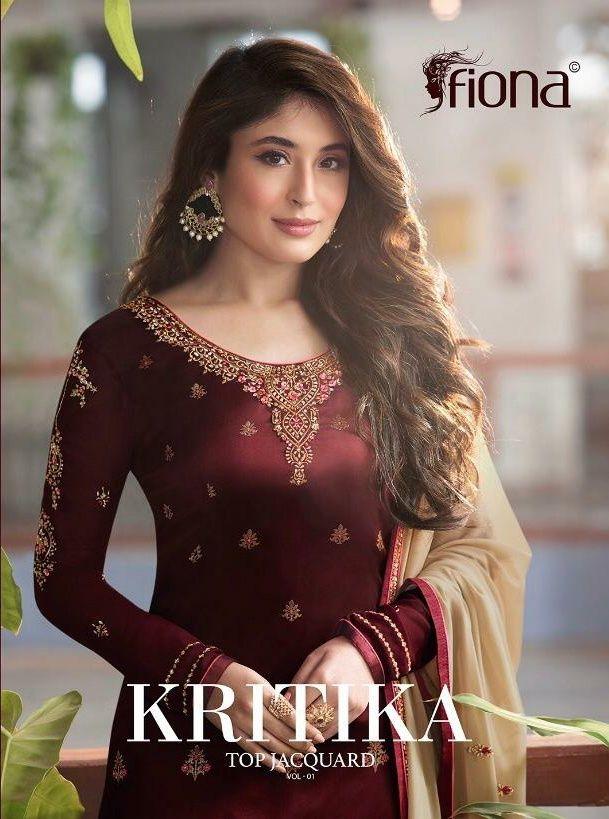 52433884d3 Fiona Kritika Top jacquard Vol 1 designer straight salwar Suit catalogue  wholesale price Surat at Wholesale Price. INR 10080 pcs 7.