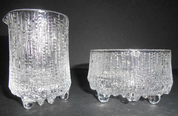 IITTALA FINLAND Ultima Thule Glass Creamer & Sugar Bowl Tapio Wirkkala 1960s  #Iittala