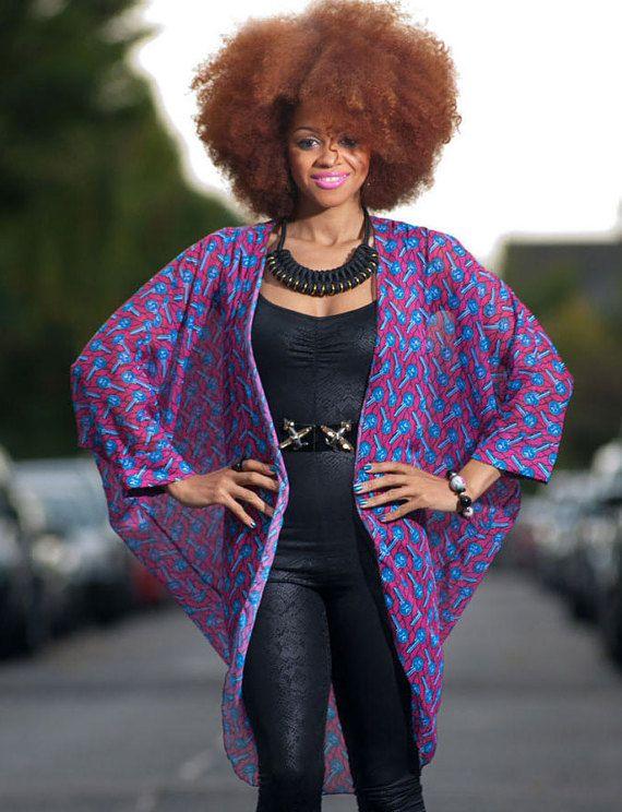 Ankara Chiffon Top, African Print Chiffon Pink Key Kimono Top , One Size, Yellow Star Kimono, African Clothing, African Jacket