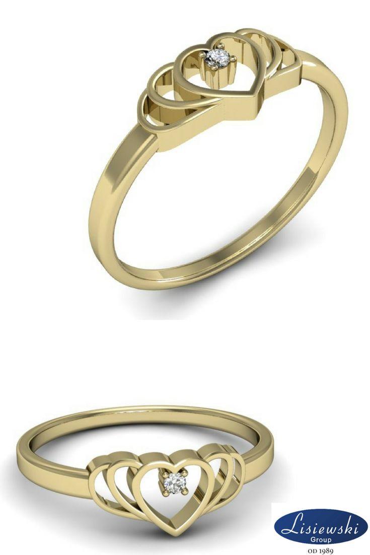 Delikatny złoty pierścionek z serduszkiem i diamentem || Delicate heart golden ring #heart #goldjewellery
