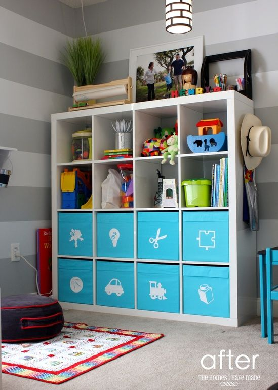 Colored Boxes And Open Shelving, Contemporary Playroom With Interior  Wallpaper, Built In Bookshelf · Ikea Toy StorageKids StorageStorage ...