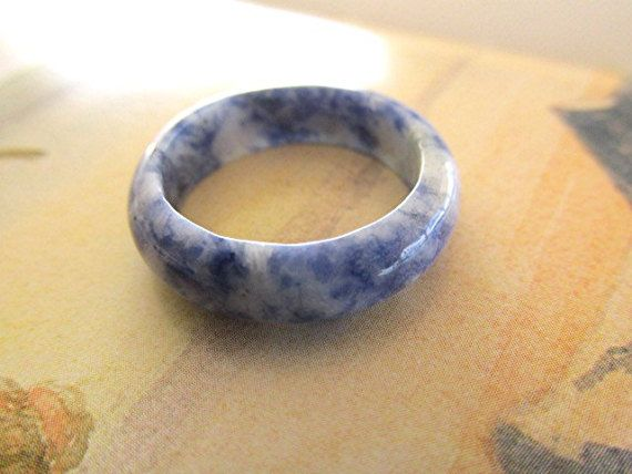 Sodalite ring solid gemstone band solid gemstone ring sodalite solid ring sodalite solid band wicca pagan witchcraft new age gift US size 8.