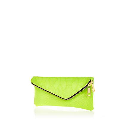 Lime snake asymmetric zip clutch bag £18.00