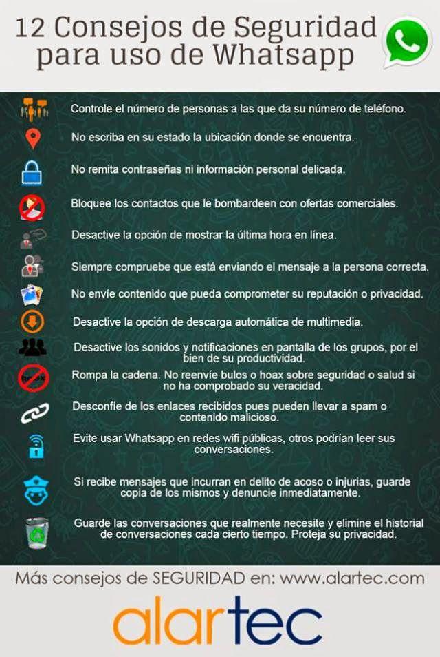 Mi pequeños aportes: Consejos para el uso seguro de WhatsApp.  Aquí les dejo una infografía con 12 (doce) consejos para el uso seguro de WhatsApp. #SocialMedia #RRSS #Infografia
