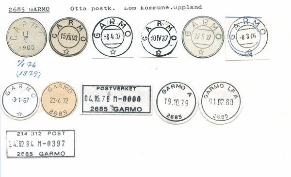 DigitaltMuseum - Stempelkatalog 2685 Garmo, Lom, Lillehammer, Oppland