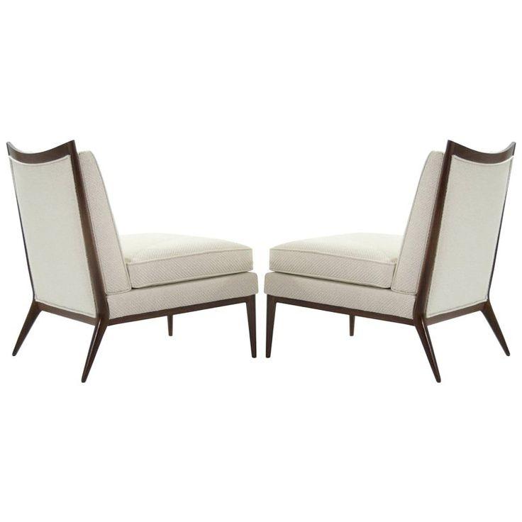 paul mccobb for directional walnut frame slipper chairs model