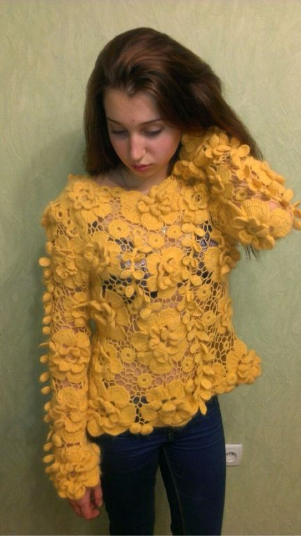 """Купить Кофточка""""Шанталь"""" - свитер, вязаный свитер, кружевной свитер, мягкий свитер, теплая одежда, цветочный"""