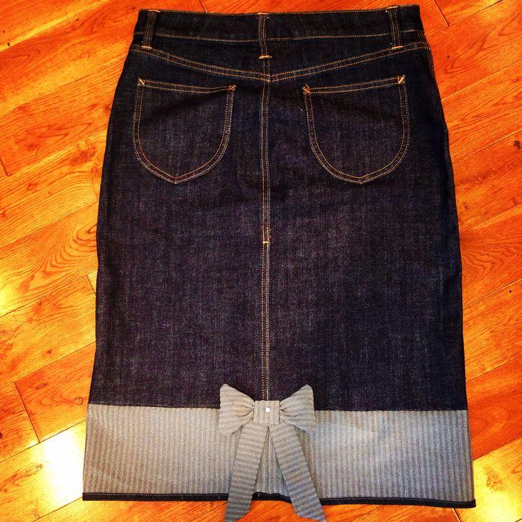 Lengthened denim skirt