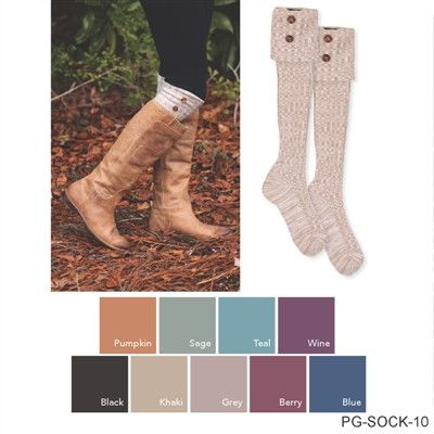 Foldover Heathered Button Boot Socks by Simply Noelle Boot socks are made of 58% Polyester, 40% Cotton, 2% Spandex for easy care. Your favorite boot sock is back and in great new colors! Show off your