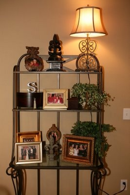 Looking for decor ideas for my bakers rack. I love the warmth of this one.