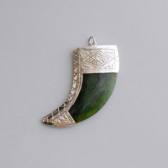 Jade Tiger Claw Pendant Large Silver by TheDeeps on Etsy, $90.00