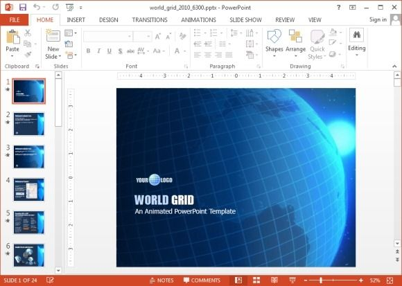 Animated World Grid PowerPoint template design with great animated globe video background #PowerPoint #design #presentations