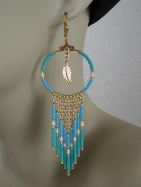 Seed Bead Hoop Chain Earrings  Aqua/Turquoise by pattimacs on Etsy, $24.00