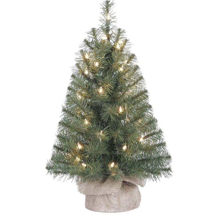 Inspirational  Christmas Tree Pre Lit Burlap Base Clear Lights Artificial Decoration Small