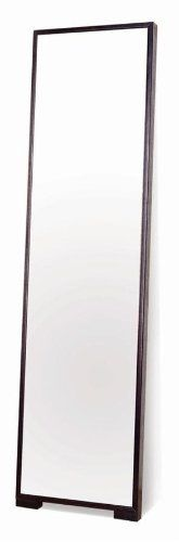 Modern Full Length Mirror w Thin Wood Frame by Beverly Hills Furniture. $168.00. 2 in. W x 17 in. L x 64 in. H (42 lbs.) Crafted with an ash veneer and finished in espresso color, the M5 mirror is a refreshing take on an old idea. It wooden frame offers a dramatic look for any space. The M5 features a fully finished back and may be leaned against a wall at an angle or affixed to it with a bracket (hardware not included).. Ash veneer in espresso finish. Wooden frame with opti...